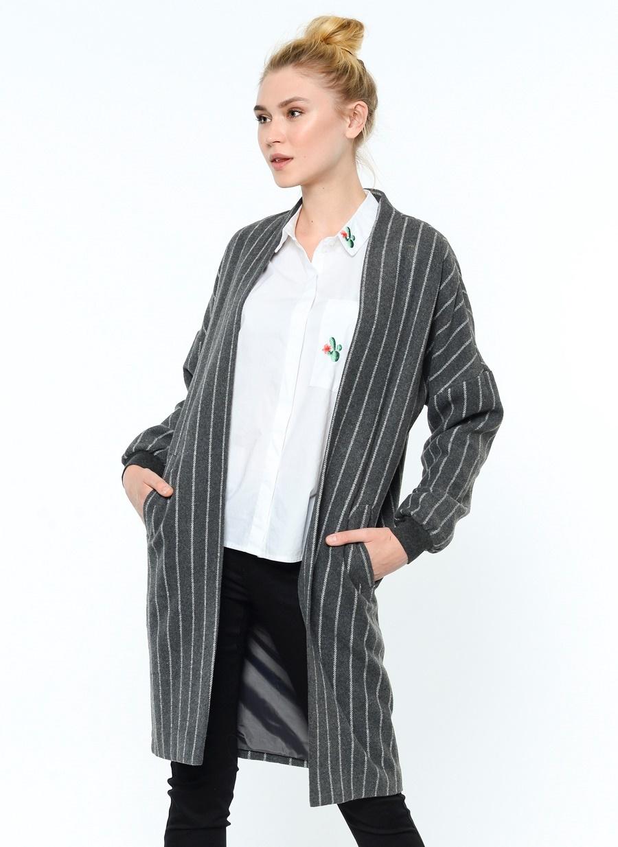 vero moda çizgili palto
